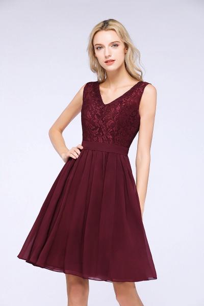 A-Line Chiffon Lace V-Neck Sleeveless Knee-Length Bridesmaid Dress with Ruffles_5