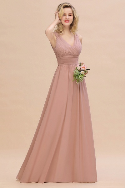 BM0752 Elegant A-line V-Neck Ruffles Long Bridesmaid Dress_1