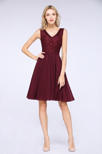 A-Line Chiffon Lace V-Neck Sleeveless Knee-Length Bridesmaid Dress with Ruffles_3