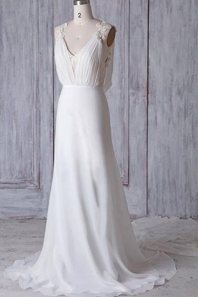 Affordable Ruffle Chiffon Sheath Wedding Dress_5