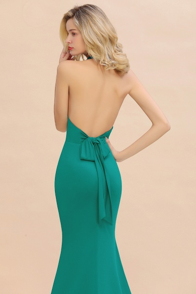 BM0670 Elegant Mermaid Halter Pool V-neck Bridesmaid Dress_38