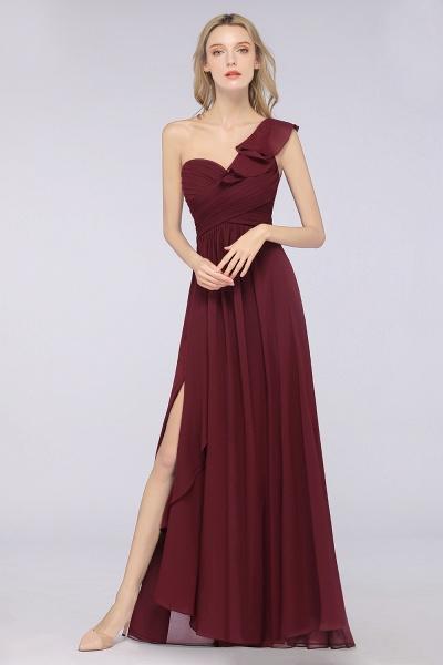 A-Line Chiffon One-Shoulder Sweetheart Sleeveless Floor-Length Bridesmaid Dress with Ruffles_1