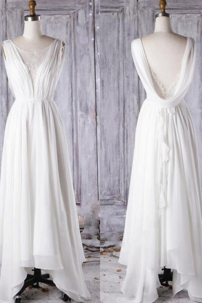 Affordable Asymmetric Lace Chiffon Wedding Dress_6