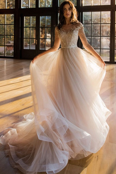 Modest Beading Cathedral Train Tulle Wedding Dress_1