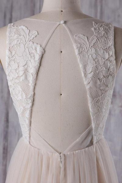Elegant V-neck Lace A-line Wedding Dress_6