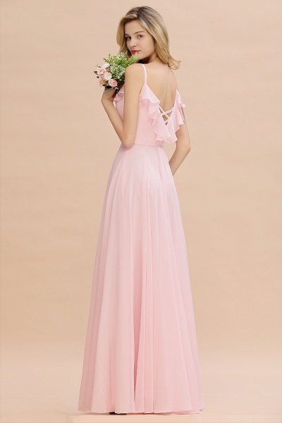 BM0784 Stylish Straps V-neck A-line Long Bridesmaid Dress_7