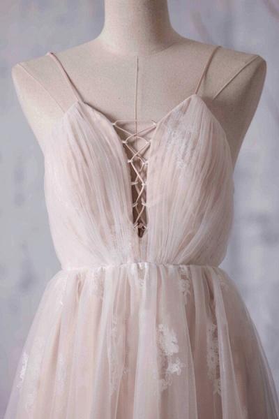 Spaghetti Strap Ruffle Lace A-line Wedding Dress_5