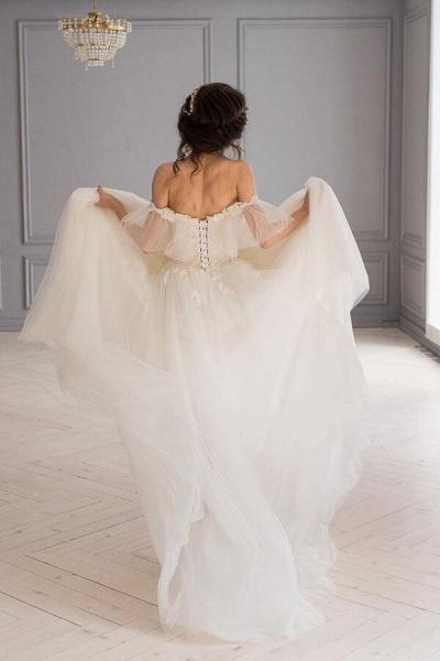 Amazing Appliques Tulle Chapel Train Wedding Dress_5