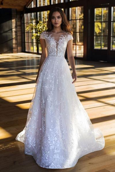 Charming Cap Sleeve A-line Tulle Wedding Dress_1
