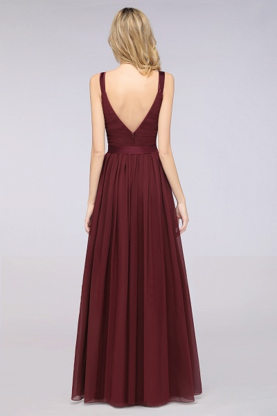 A-Line Chiffon Straps V-Neck Sleeveless Backless Floor-Length Bridesmaid Dress with Ruffles_36