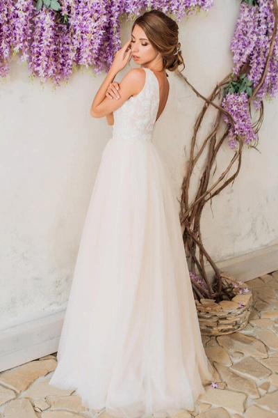 Sleeveless V-neck Floor Length A-line Wedding Dress_4