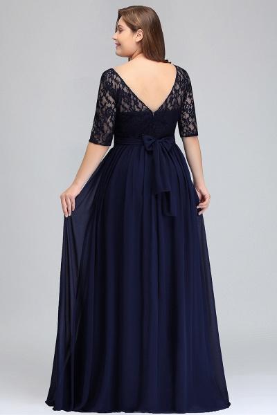 BM0952 Plus Size Elegant Half-Sleeves Lace Bridesmaid Dresses with Bow_7
