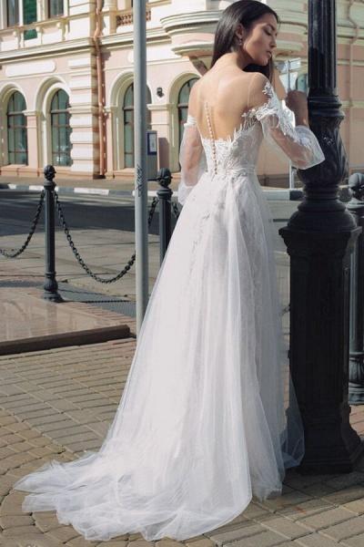 Latest Court Train Tulle Appliques Wedding Dress_3