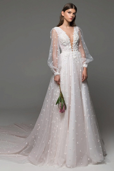Long Sleeve Chapel Train Tulle A-line Wedding Dress_2