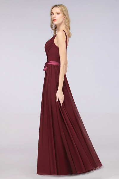 A-Line Chiffon Straps V-Neck Sleeveless Backless Floor-Length Bridesmaid Dress with Ruffles_38