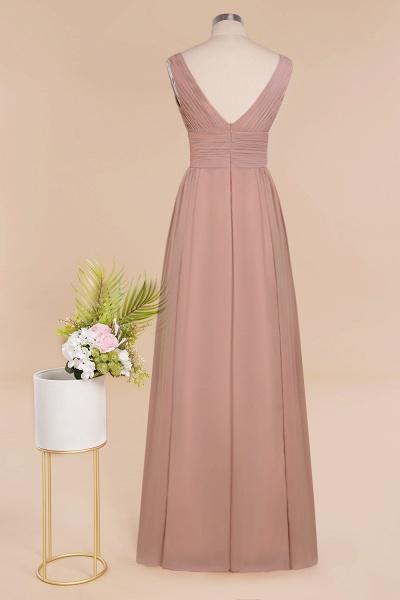 BM0752 Elegant A-line V-Neck Ruffles Long Bridesmaid Dress_11