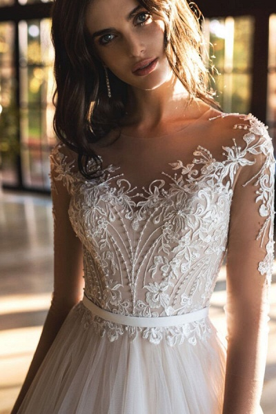 Modest Beading Cathedral Train Tulle Wedding Dress_4