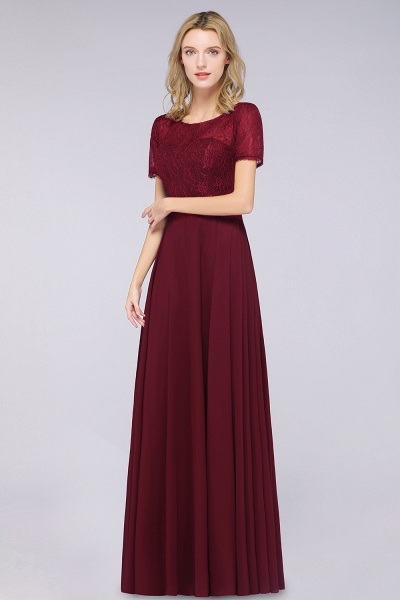 A-Line Chiffon Lace Round-Neck Short-Sleeves Floor-Length Bridesmaid Dress_4