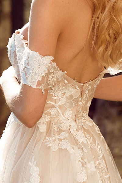 Elegant Chapel Train Appliques Tulle Wedding Dress_6