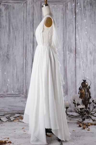 Affordable Asymmetric Lace Chiffon Wedding Dress_4