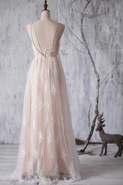 Spaghetti Strap Ruffle Lace A-line Wedding Dress_3