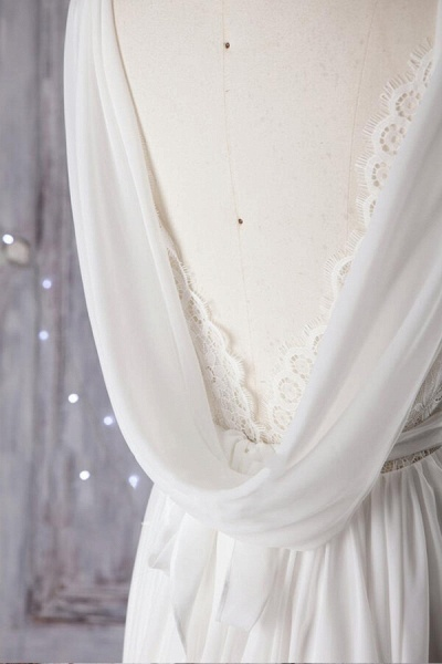 Affordable Asymmetric Lace Chiffon Wedding Dress_5
