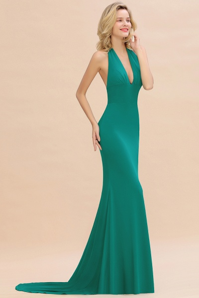 BM0670 Elegant Mermaid Halter Pool V-neck Bridesmaid Dress_36
