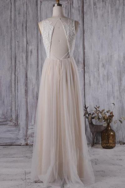 Elegant V-neck Lace A-line Wedding Dress_3