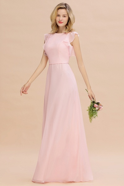 BM0783 Elegant Simple Jewel Sleeveless A-line Bridesmaid Dress_3