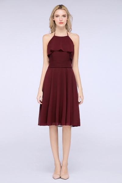A-Line Chiffon Halter Sleeveless Knee-Length Bridesmaid Dress with Ruffles_1