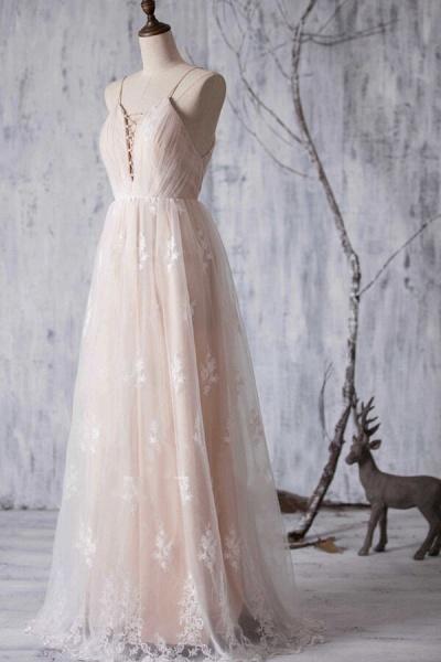 Spaghetti Strap Ruffle Lace A-line Wedding Dress_4