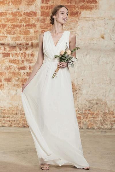 Elegant Ruffle Chiffon A-line Wedding Dress_1