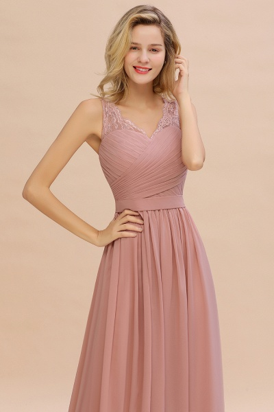Eye-catching V-neck Lace A-line Evening Dress_13