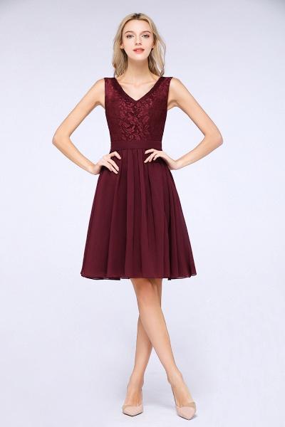 A-Line Chiffon Lace V-Neck Sleeveless Knee-Length Bridesmaid Dress with Ruffles_1