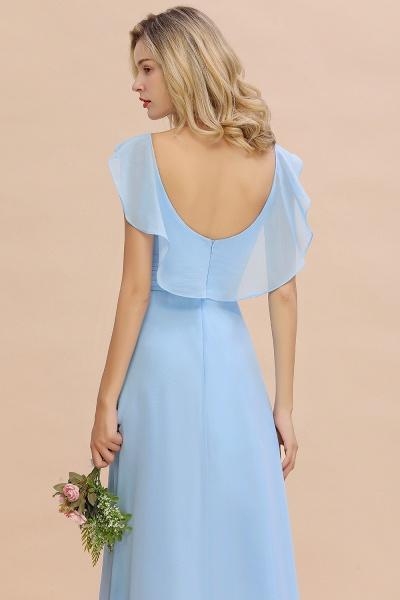 BM0777 Simple Hi-Lo V-Neck Ruffles Long Bridesmaid Dress_56