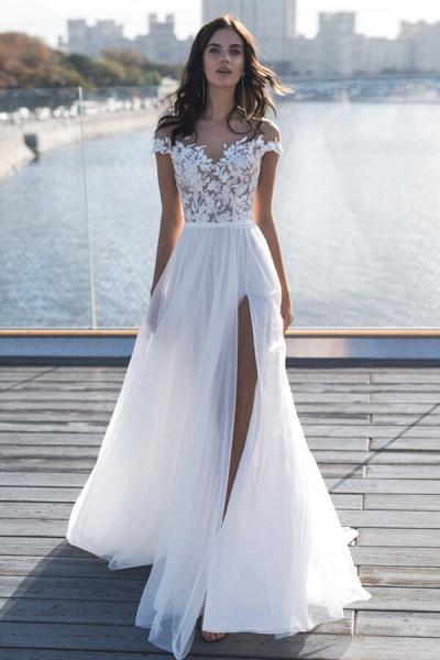 Front Slit Appliques Tulle A-line Wedding Dress_1