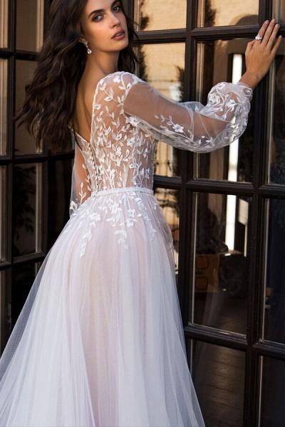 Chic Chapel Train Long Sleeve Tulle Wedding Dress_5