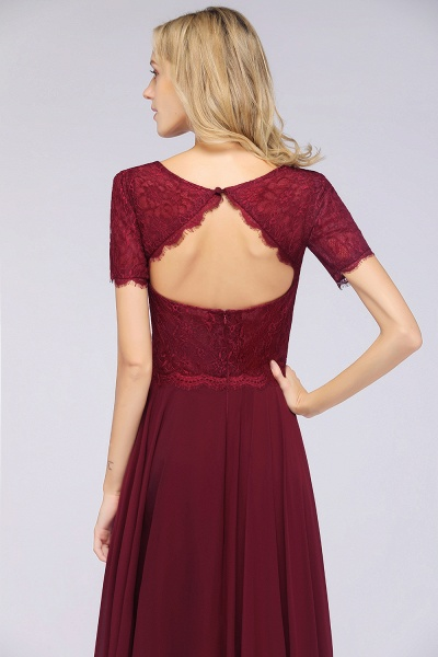 A-Line Chiffon Lace Round-Neck Short-Sleeves Floor-Length Bridesmaid Dress_8