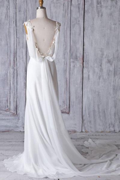 Affordable Ruffle Chiffon Sheath Wedding Dress_3