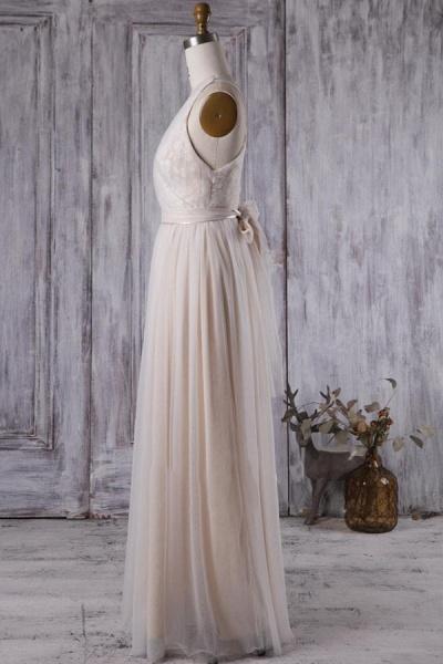 Ruffle V-neck Floor Length Lace Wedding Dress_5