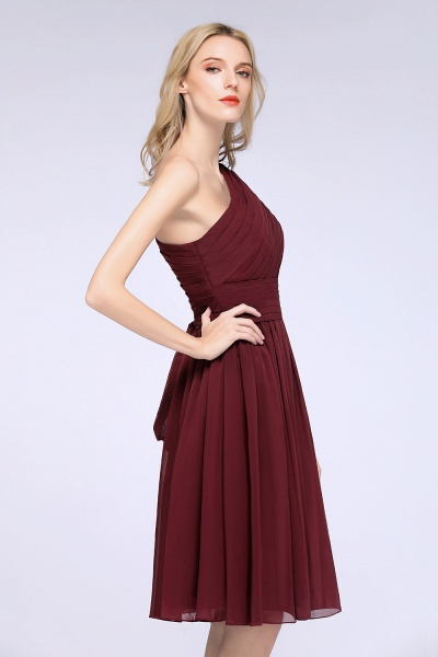 A-Line Chiffon One-Shoulder Sleeveless Knee-Length Bridesmaid Dress with Ruffles_5