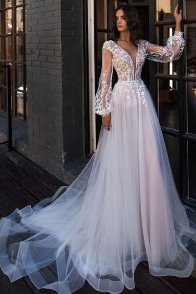 Chic Chapel Train Long Sleeve Tulle Wedding Dress_1