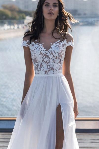 Front Slit Appliques Tulle A-line Wedding Dress_4