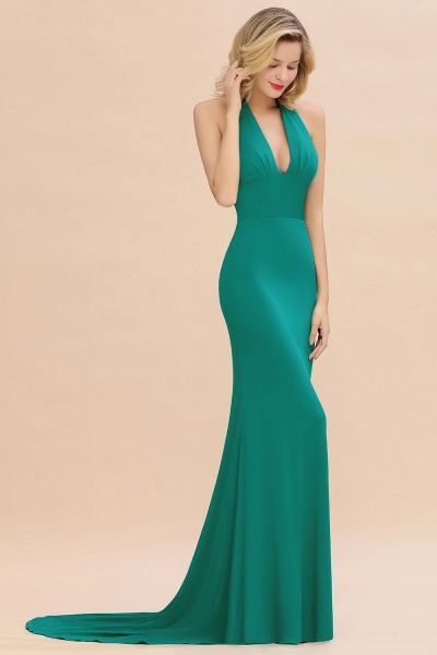 BM0670 Elegant Mermaid Halter Pool V-neck Bridesmaid Dress_35