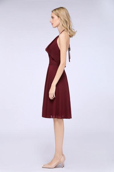 A-Line Chiffon Halter Sleeveless Knee-Length Bridesmaid Dress with Ruffles_6