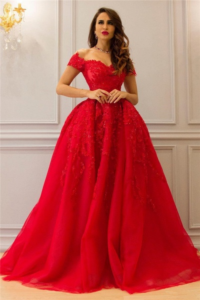Elegant Sweetheart Tulle Ball Gown Evening Dress_1