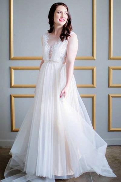 Graceful Appliques Sweep Train A-line Wedding Dress_2