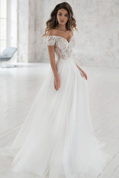 Elegant Short Sleeve Appliques Tulle Wedding Dress_1