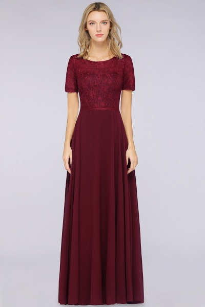A-Line Chiffon Lace Round-Neck Short-Sleeves Floor-Length Bridesmaid Dress_3