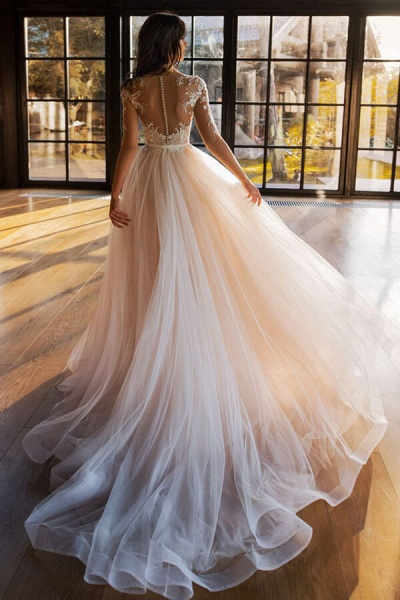 Modest Beading Cathedral Train Tulle Wedding Dress_3